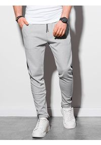Ombre Clothing - Spodnie męskie dresowe P959 - szare - XXL. Kolor: szary. Materiał: dresówka
