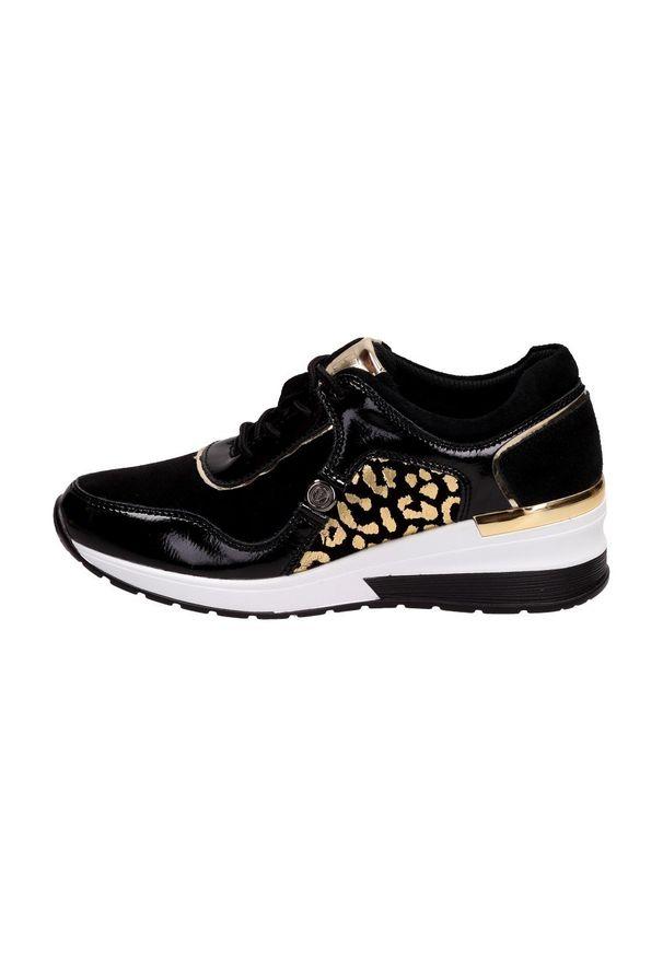 Czarne buty sportowe Vinceza na średnim obcasie, na koturnie