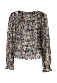 Czarna bluzka Cream długa, z długim rękawem, w kwiaty