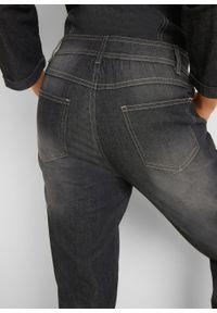 Kombinezon dżinsowy ze stretchem, rękawy 3/4 bonprix czarny. Kolor: czarny