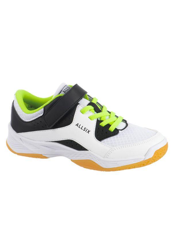 ALLSIX - Buty do siatkówki dla dzieci Allsix V100 na rzepy. Zapięcie: rzepy. Kolor: biały, żółty, wielokolorowy, czarny. Materiał: materiał. Sport: siatkówka