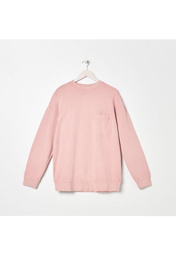 Sinsay - Bluza z kieszenią - Różowy. Kolor: różowy
