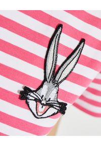 MOA Concept - MOA CONCEPT - Koszulka w biało-różowe paski Looney Tunes. Okazja: na co dzień. Kolor: biały. Materiał: bawełna. Wzór: paski. Styl: klasyczny, casual
