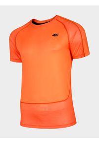 Pomarańczowa koszulka sportowa 4f na fitness i siłownię, raglanowy rękaw