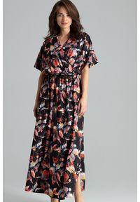 Sukienka maxi, z kopertowym dekoltem