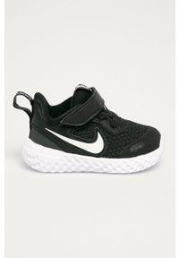 Czarne buty sportowe Nike Kids na rzepy, z cholewką, z okrągłym noskiem, Nike Revolution