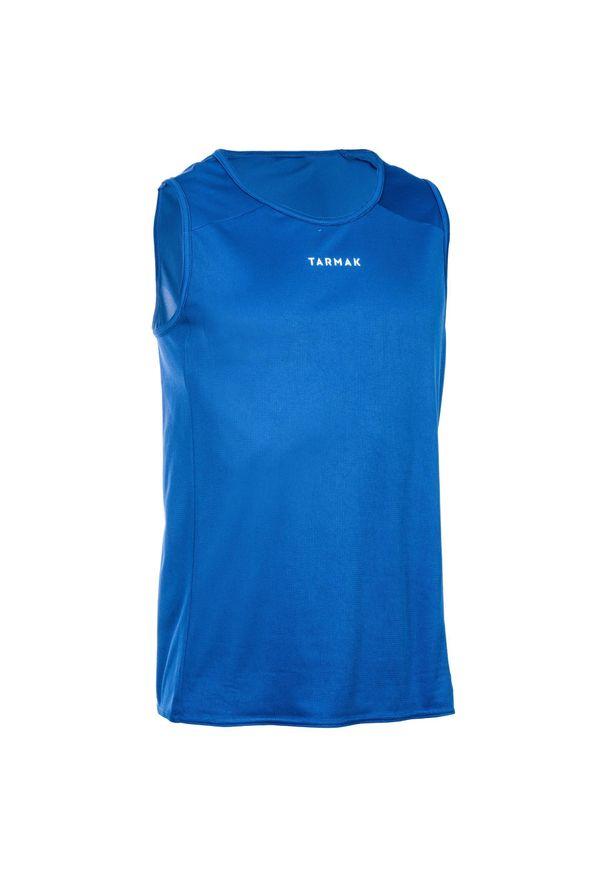 TARMAK - Koszulka koszykarska męska Tarmak T100 bez rękawów. Kolor: biały, wielokolorowy, niebieski. Materiał: poliester, materiał. Długość rękawa: bez rękawów. Sport: koszykówka