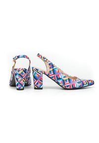 Zapato - kolorowe czółenka na słupku bez pięty - skóra naturalna - model 972/5 - kolor kalejdoskop. Materiał: skóra. Wzór: kolorowy. Obcas: na słupku