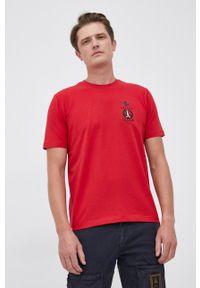 Aeronautica Militare - T-shirt. Okazja: na co dzień. Kolor: czerwony. Materiał: dzianina. Wzór: aplikacja. Styl: casual