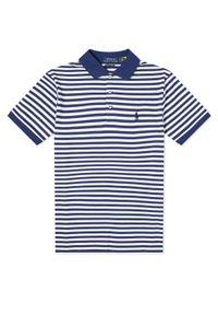 Ralph Lauren - RALPH LAUREN - Koszulka polo w paski Slim Fit. Typ kołnierza: polo. Kolor: biały. Materiał: bawełna, prążkowany. Wzór: paski