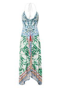 Sukienka z dekoltem halter bonprix biel wełny - zielono-niebieski w roślinny wzór. Typ kołnierza: dekolt halter. Kolor: biały. Materiał: wełna