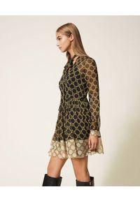 TwinSet - Sukienka z motywem łańcuszka Twinset (Outlet). Typ kołnierza: dekolt w kształcie V. Kolor: czarny. Materiał: materiał, tkanina, poliester. Długość rękawa: na ramiączkach. Wzór: nadruk. Typ sukienki: rozkloszowane. Długość: mini