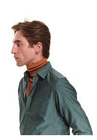 TOP SECRET - Koszula z tkaniny typu oxford. Kolor: zielony. Materiał: tkanina