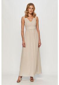 Szara sukienka Vila z dekoltem halter, bez rękawów, rozkloszowana