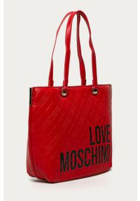 Czerwona shopperka Love Moschino na ramię, duża