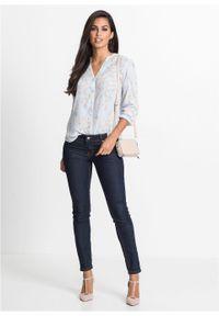Fioletowa bluzka bonprix z nadrukiem, ze stójką, elegancka