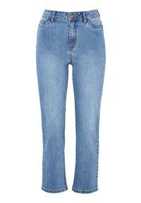 Niebieskie jeansy Happy Holly w kolorowe wzory, klasyczne, z podwyższonym stanem