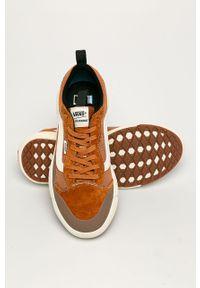 Pomarańczowe sneakersy Vans z cholewką, z okrągłym noskiem, na sznurówki