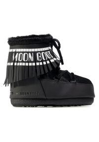 Czarne śniegowce Moon Boot z aplikacjami, z cholewką, na zimę #8