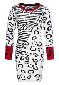 Sukienka dzianinowa w cętki leoparda bonprix biało-czarno-czerwony w cętki leoparda. Kolor: biały. Materiał: dzianina