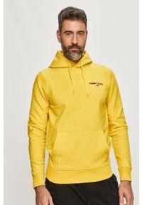 Żółta bluza nierozpinana Tommy Jeans z aplikacjami, na co dzień, z kapturem, casualowa