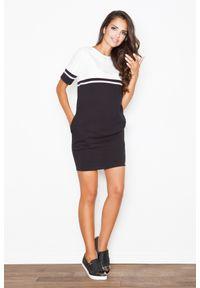 e-margeritka - Sukienka bawełniana czarny-ecru - xl. Okazja: do pracy, na co dzień. Kolor: czarny. Materiał: bawełna. Długość rękawa: krótki rękaw. Styl: casual. Długość: mini
