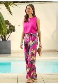 Bluzka bez rękawów z wiskozy bonprix różowa magnolia. Kolor: różowy. Materiał: wiskoza. Długość rękawa: bez rękawów. Wzór: nadruk