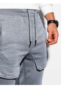 Ombre Clothing - Spodnie męskie dresowe joggery P904 - szary melanż - XXL. Kolor: szary. Materiał: dresówka. Wzór: melanż #6