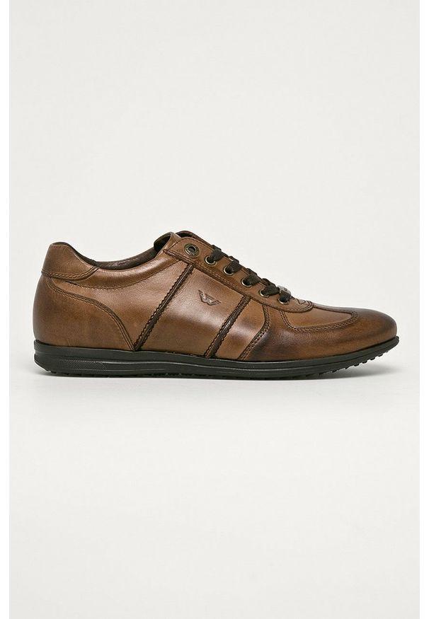 Wojas - Półbuty skórzane. Nosek buta: okrągły. Zapięcie: sznurówki. Kolor: brązowy. Materiał: skóra