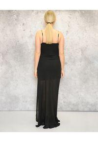 CRISTINAEFFE - Sukienka maxi na złotych ramiączkach. Kolor: czarny. Długość rękawa: na ramiączkach. Długość: maxi