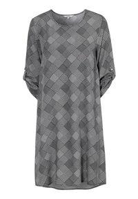 Cellbes Wzorzysta sukienka szary w kratkę female szary/ze wzorem 58/60. Kolor: szary. Materiał: włókno, wiskoza, materiał. Wzór: kratka