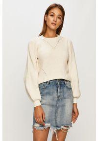 Biały sweter Noisy may z długim rękawem, długi, casualowy, na co dzień