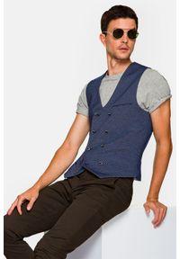 Lancerto - Kamizelka Granatowa Wzór Procida. Typ kołnierza: golf. Kolor: niebieski. Materiał: bawełna, jeans, dzianina, materiał, tkanina, poliester. Wzór: kolorowy