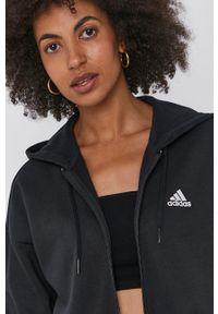 Adidas - adidas - Bluza. Typ kołnierza: kaptur. Kolor: czarny. Materiał: bawełna, poliester