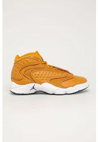 Pomarańczowe buty sportowe Jordan na sznurówki, z okrągłym noskiem, z cholewką