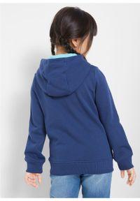 Bluza dziewczęca z kapturem i cekinami bonprix kobaltowy. Typ kołnierza: kaptur. Kolor: niebieski. Wzór: nadruk