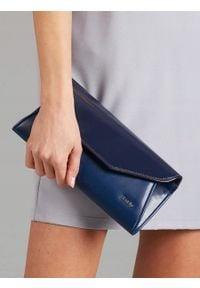 Niebieska kopertówka ROVICKY na ramię, wizytowa, w kolorowe wzory