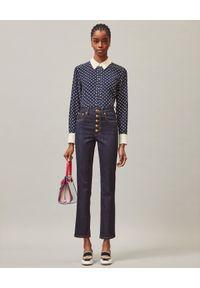 Tory Burch - TORY BURCH - Granatowe jeansy Slim Fit. Stan: podwyższony. Kolor: niebieski. Styl: klasyczny, elegancki