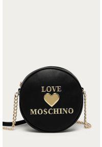 Czarna listonoszka Love Moschino na ramię, z aplikacjami, mała