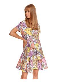 TOP SECRET - Mini sukienka w pastelowy nadruk roślinny. Typ kołnierza: dekolt w kształcie V. Kolor: niebieski. Materiał: dzianina. Długość rękawa: krótki rękaw. Wzór: nadruk. Długość: mini