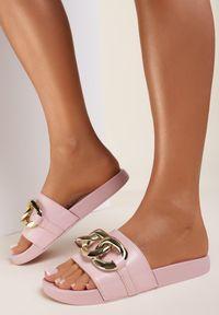 Renee - Różowe Klapki Thuruin. Nosek buta: otwarty. Kolor: różowy. Materiał: jeans, guma. Wzór: aplikacja. Sezon: lato