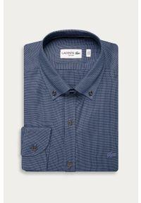 Niebieska koszula Lacoste z klasycznym kołnierzykiem, długa, casualowa