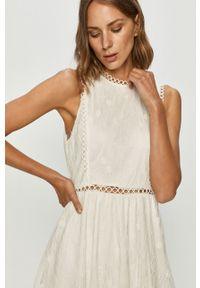 Biała sukienka Vila rozkloszowana, bez rękawów, z okrągłym kołnierzem #5