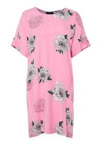 Różowa sukienka mini Freequent prosta, w kwiaty