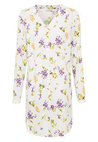Biała bluzka bonprix w kwiaty, długa