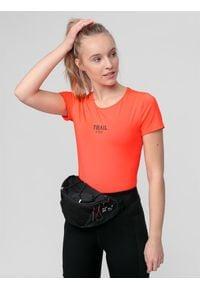 4f - Koszulka trekkingowa damska. Kolor: pomarańczowy. Materiał: dzianina