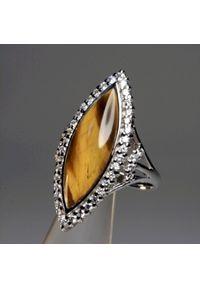 Braccatta - BRYLANTOWA MARKIZA Pierścionek srebrny tygrysie oko i cyrkonie. Materiał: srebrne. Kolor: srebrny. Kamień szlachetny: cyrkonia