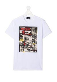 DSQUARED2 KIDS - Biały t-shirt z nadrukiem 4-12 lat. Kolor: biały. Materiał: bawełna, jeans. Wzór: nadruk. Sezon: lato