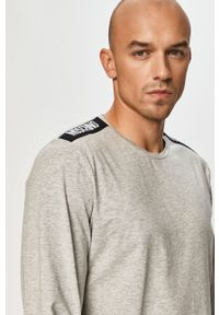 Szara koszulka z długim rękawem Moschino Underwear z aplikacjami, na co dzień, casualowa