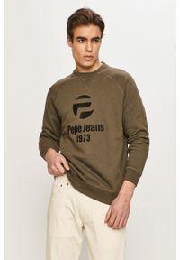 Oliwkowa bluza nierozpinana Pepe Jeans casualowa, na co dzień, z nadrukiem, bez kaptura